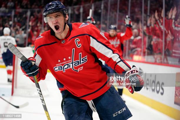 Alex Ovechkin of the Washington Capitals celebrates after scoring a first period goal against the Florida Panthers at Capital One Arena on November...