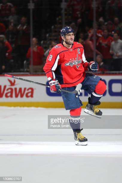 Alex Ovechkin of the Washington Capitals celebrates after scoring during a shootout against the Winnipeg Jets at Capital One Arena on February 25...