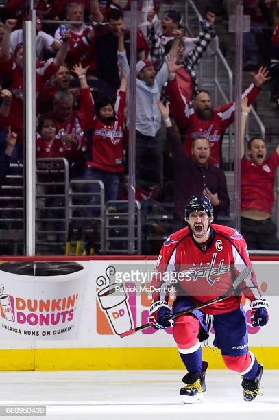 Alex Ovechkin of the Washington Capitals celebrates after scoring a goal against the Toronto Maple Leafs in the second period in Game Two of the...