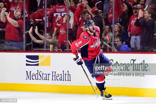 Alex Ovechkin of the Washington Capitals celebrates after scoring a goal against the Pittsburgh Penguins in the second period in Game One of the...