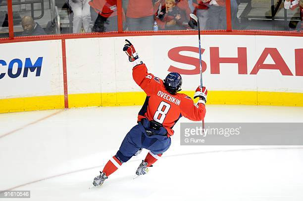 Alex Ovechkin of the Washington Capitals celebrates after scoring a goal against the Toronto Maple Leafs at the Verizon Center on October 3 2009 in...