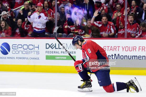Alex Ovechkin of the Washington Capitals celebrates after scoring a first period goal against the Winnipeg Jets at Capital One Arena on March 12 2018...