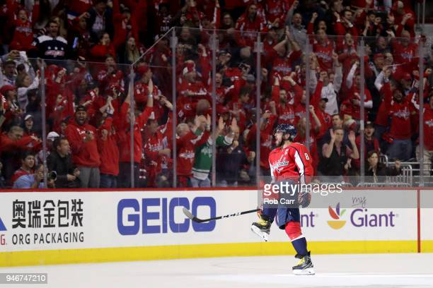 Alex Ovechkin of the Washington Capitals celebrates after scoring a first period goal against the Columbus Blue Jackets during Game Two of the...