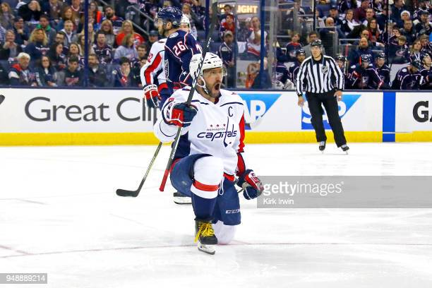 Alex Ovechkin of the Washington Capitals celebrates after scoring a goal during the third period in Game Four of the Eastern Conference First Round...