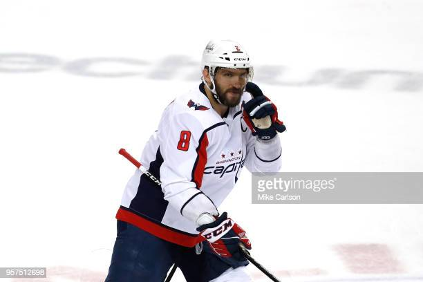 Alex Ovechkin of the Washington Capitals celebrates after scoring a goal against Andrei Vasilevskiy of the Tampa Bay Lightning during the first...