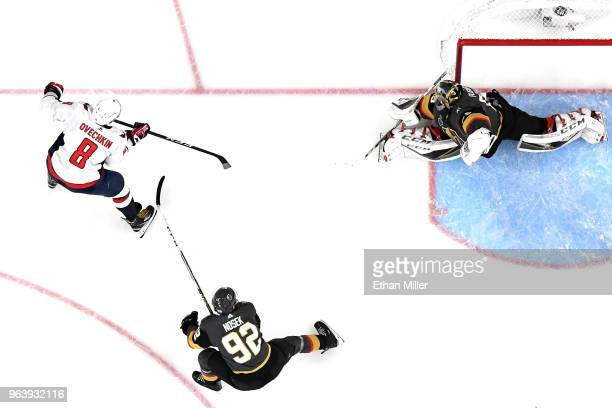 Alex Ovechkin of the Washington Capitals celebrates after scoring a secondperiod goal past MarcAndre Fleury of the Vegas Golden Knights in Game Two...