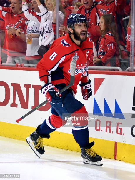 Alex Ovechkin of the Washington Capitals celebrates after scoring a goal during the second period against the Vegas Golden Knights in Game Three of...