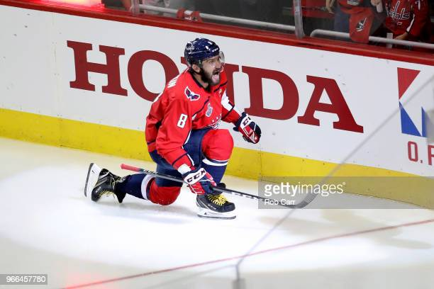 Alex Ovechkin of the Washington Capitals celebrates after scoring a goal on Marc-Andre Fleury of the Vegas Golden Knights during the second period in...