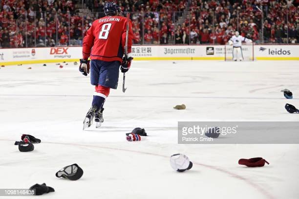 Alex Ovechkin of the Washington Capitals celebrates after scoring his third goal of the game for a hat trick against the San Jose Sharks during the...