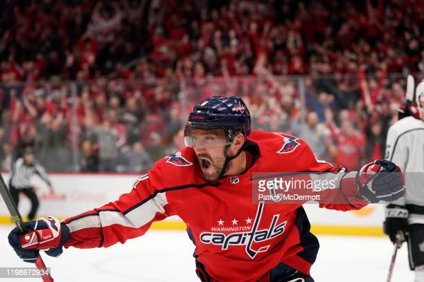Alex Ovechkin of the Washington Capitals celebrates after scoring his second goal of the game against the Los Angeles Kings in the third period at...
