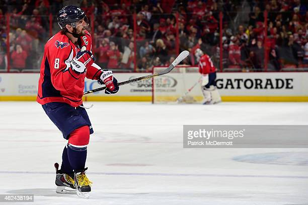 Alex Ovechkin of the Washington Capitals celebrates after scoring his second goal of the game during the second period of an NHL game against the...
