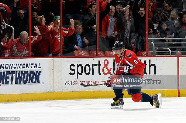 Alex Ovechkin of the Washington Capitals celebrates after scoring his second goal of the game in the first period during an NHL game against the Los...