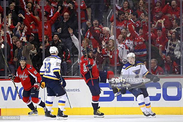 Alex Ovechkin of the Washington Capitals celebrates after scoring his third goal of the game for a hat trick against the St Louis Blues during the...