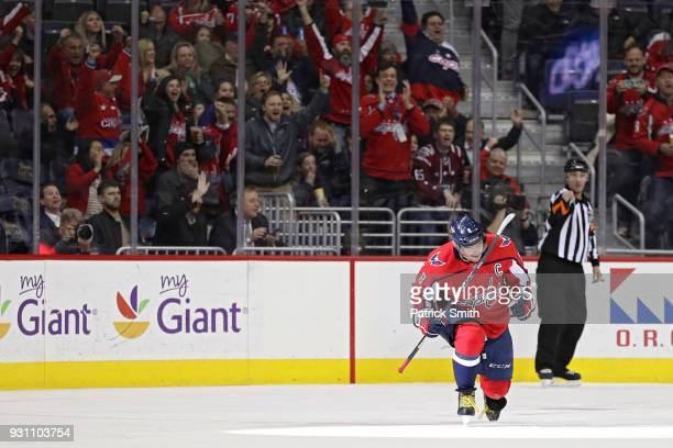 Alex Ovechkin of the Washington Capitals celebrates after scoring his 599th career goal against the Winnipeg Jets during the first period at Capital...