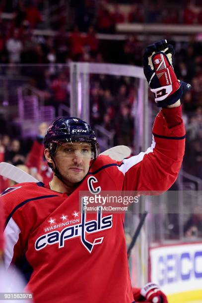 Alex Ovechkin of the Washington Capitals celebrates after scoring his 600th career NHL goal during the second period against the Winnipeg Jets at...