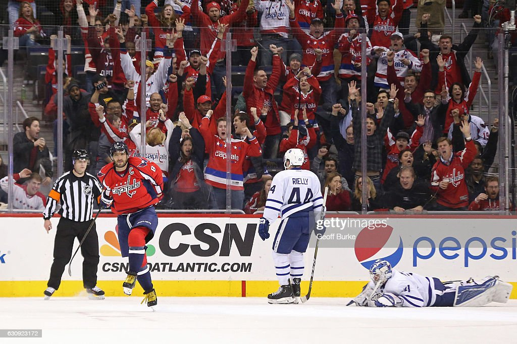 Alex Ovechkin #8 of the Washington Capitals celebrates after scoring the game winning goal in overtime on Frederik Andersen #31 of the Toronto Maple Leafs at Verizon Center on January 3, 2017 in Washington, DC. The Capitals won 6-5.