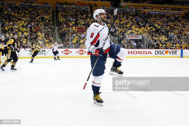 Alex Ovechkin of the Washington Capitals celebrates after scoring the game winning goal during the third period in Game Three of the Eastern...