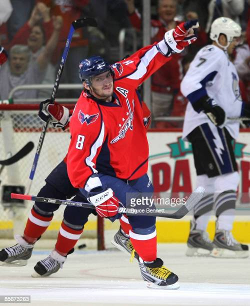 Alex Ovechkin of the Washington Capitals celebrates his first period goal against the Tampa Bay Lightning on March 27 2009 at the Verizon Center in...