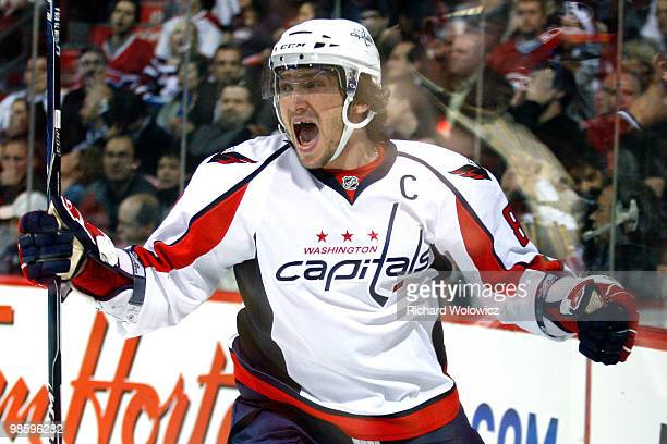 Alex Ovechkin of the Washington Capitals celebrates his first period goal in Game Four of the Eastern Conference Quarterfinals during the 2010 NHL...