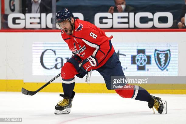 Alex Ovechkin of the Washington Capitals celebrates his goal against the New Jersey Devils during the second period at Capital One Arena on March 25,...