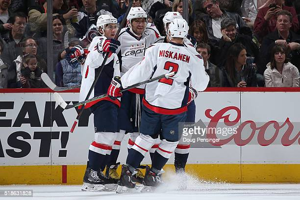 Alex Ovechkin of the Washington Capitals celebrates his goal against the Colorado Avalanche with his teammates to take a 20 lead in the second period...