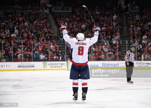 Alex Ovechkin of the Washington Capitals celebrates his goal at 450 of the third period against the New Jersey Devils at the Prudential Center on...