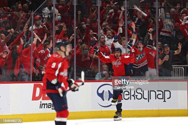 Alex Ovechkin of the Washington Capitals celebrates his second goal of the third period against the New York Rangers at Capital One Arena on October...