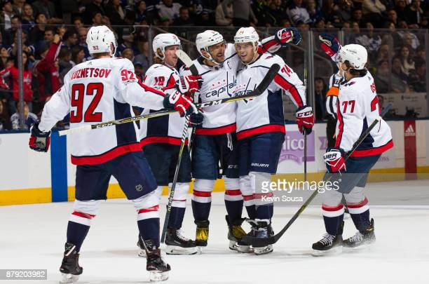 Alex Ovechkin of the Washington Capitals celebrates his second goal on the Toronto Maple Leafs with teammates Nicklas Backstrom John Carlson TJ Oshie...