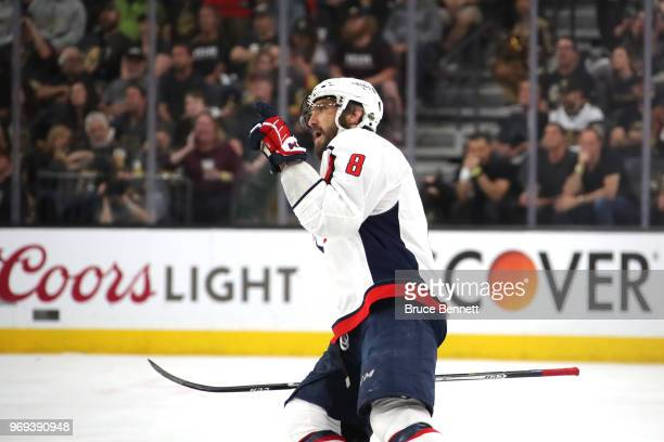 Alex Ovechkin of the Washington Capitals celebrates his secondperiod goal against the Vegas Golden Knights in Game Five of the 2018 NHL Stanley Cup...