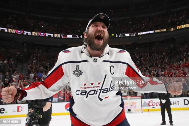 Alex Ovechkin of the Washington Capitals celebrates his team defeated the Vegas Golden Knights 43 in Game Five of the 2018 NHL Stanley Cup Final at...