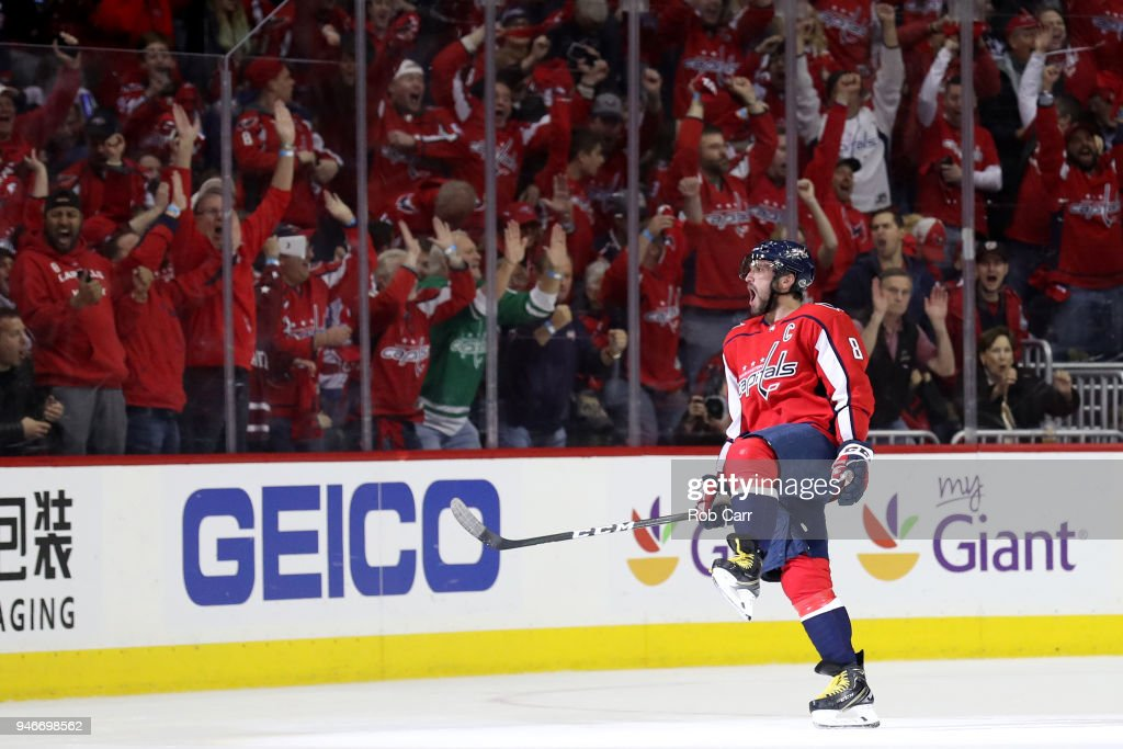 Alex Ovechkin #8 of the Washington Capitals celebrates scoring a first period goal against the Columbus Blue Jackets during Game Two of the Eastern Conference First Round during the 2018 NHL Stanley Cup Playoffs at Capital One Arena on April 15, 2018 in Washington, DC.
