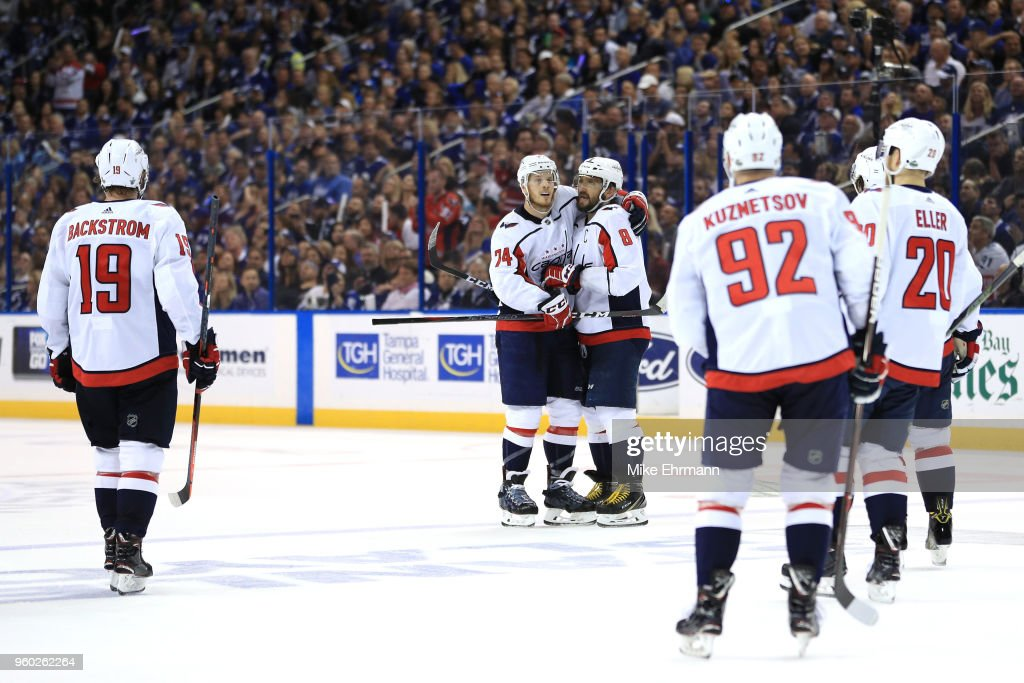 Alex Ovechkin #8 of the Washington Capitals celebrates with his teammates after scoring a goal on Andrei Vasilevskiy #88 of the Tampa Bay Lightning during the third period in Game Five of the Eastern Conference Finals during the 2018 NHL Stanley Cup Playoffs at Amalie Arena on May 19, 2018 in Tampa, Florida.
