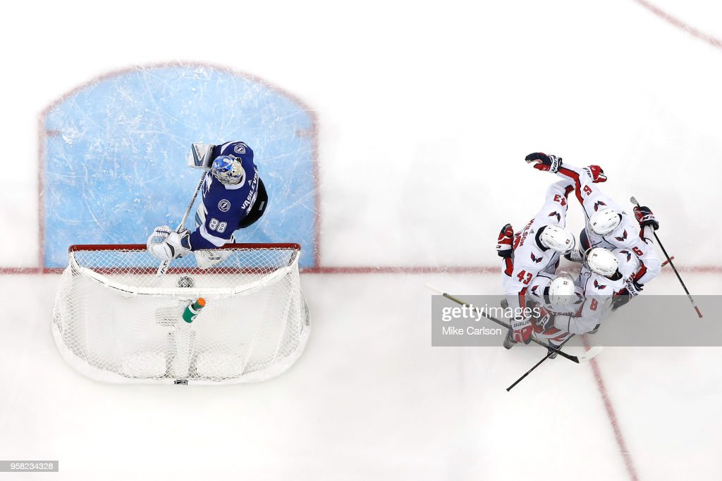 Alex Ovechkin #8 of the Washington Capitals celebrates with teammates after scoring a goal against Andrei Vasilevskiy #88 of the Tampa Bay Lightning during the third period in Game Two of the Eastern Conference Finals during the 2018 NHL Stanley Cup Playoffs at Amalie Arena on May 13, 2018 in Tampa, Florida.