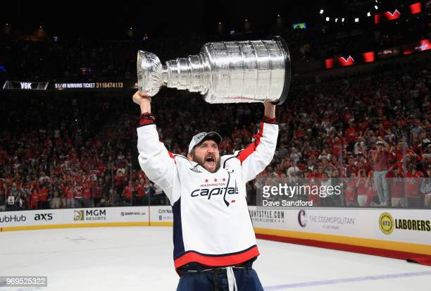Alex Ovechkin of the Washington Capitals celebrates with the Stanley Cup after his team defeated the Vegas Golden Knights 43 in Game Five of the 2018...