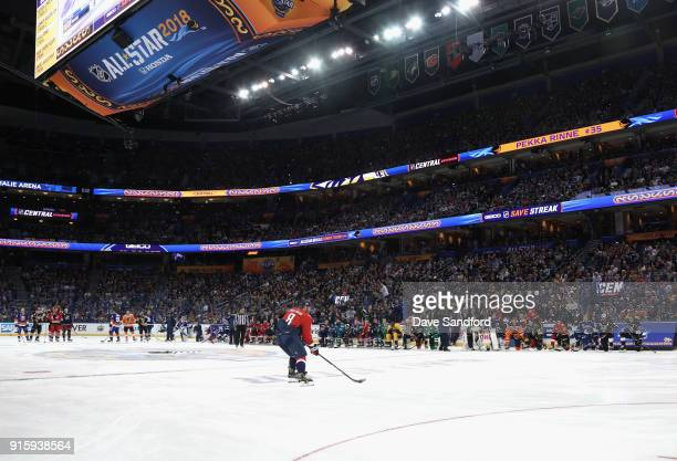 Alex Ovechkin of the Washington Capitals competes in the GEICO NHL Save Streak during 2018 GEICO NHL AllStar Skills Competition at Amalie Arena on...