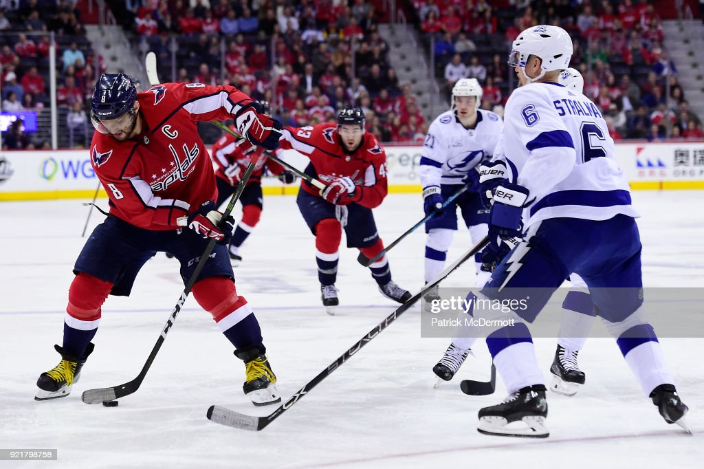 Alex Ovechkin #8 of the Washington Capitals controls the puck against the Tampa Bay Lightning in the third period at Capital One Arena on February 20, 2018 in Washington, DC.
