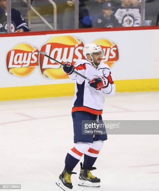 Alex Ovechkin of the Washington Capitals directs the play during first period action against the Winnipeg Jets at the Bell MTS Place on February 13...