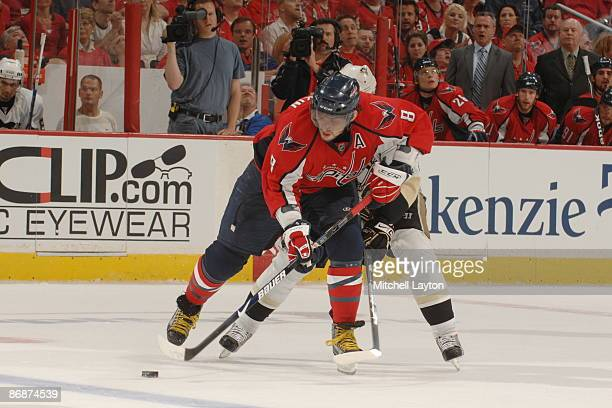 Alex Ovechkin of the Washington Capitals fights off a defender during Game Five of the Eastern Conference Semifinals of the 2009 NHL Stanley Cup...