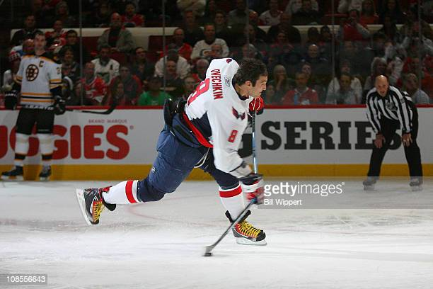 Alex Ovechkin of the Washington Capitals for team Staal breaks his stick against Team Staal he competes in the XM NHL Hardest Shot during the Honda...