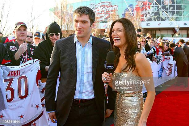 Alex Ovechkin of the Washington Capitals for Team Staal is interviewed by Heidi Androl of the NHL Network at the Red Carpet Arrivals part of the 2011...