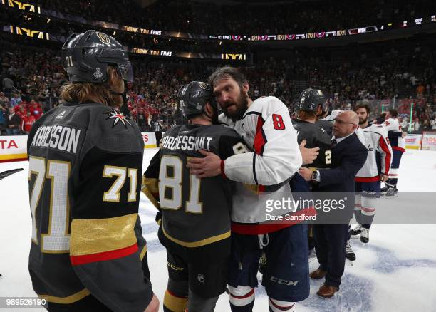 Alex Ovechkin of the Washington Capitals gives a hug to Jonathan Marchessault of the Vegas Golden Knights after Game Five of the 2018 NHL Stanley Cup...