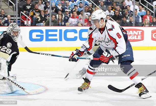 Alex Ovechkin of the Washington Capitals has his break away shot saved by the blocker of goaltender MarcAndre Fleury of the Pittsburgh Penguins...