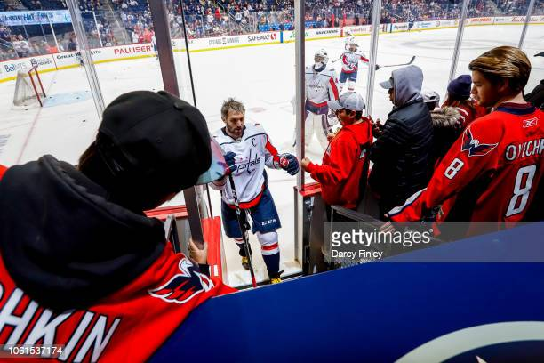 Alex Ovechkin of the Washington Capitals heads off the ice following the pregame warm up prior to NHL action against the Winnipeg Jets at the Bell...