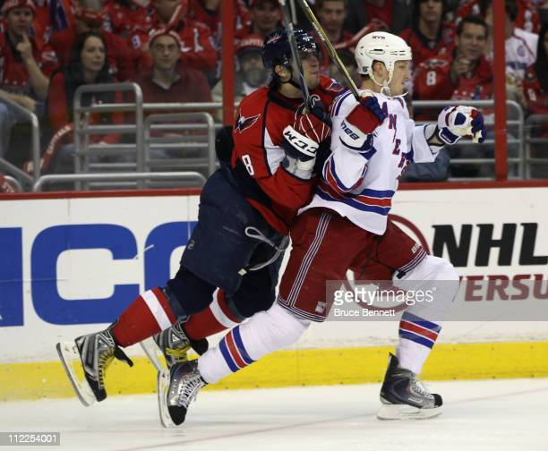 Alex Ovechkin of the Washington Capitals hits Marc Staal of the New York Rangers in the back in Game Two of the Eastern Conference Quarterfinals...