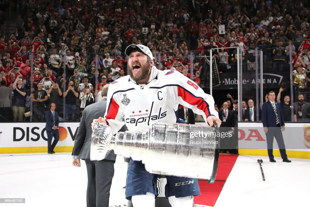 Alex Ovechkin #8 of the Washington Capitals hoists the Stanley Cup after his team defeated the Vegas Golden Knights 4-3 in Game Five of the 2018 NHL Stanley Cup Final at T-Mobile Arena on June 7, 2018 in Las Vegas, Nevada.