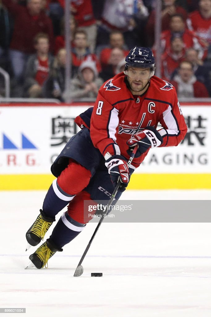 Alex Ovechkin #8 of the Washington Capitals in action against the Boston Bruins at Capital One Arena on December 28, 2017 in Washington, DC.