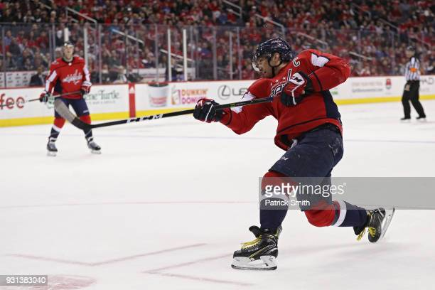 Alex Ovechkin of the Washington Capitals in action against the Winnipeg Jets during at Capital One Arena on March 12 2018 in Washington DC