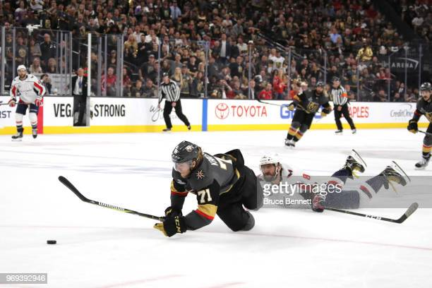 Alex Ovechkin of the Washington Capitals is called for a tripping penalty on William Karlsson of the Vegas Golden Knights during the second period in...