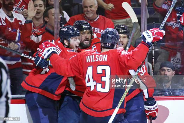 Alex Ovechkin of the Washington Capitals is congratulated by his teammates after scoring a secondperiod goal against the Vegas Golden Knights in Game...