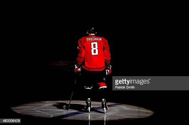 Alex Ovechkin of the Washington Capitals is introduced against the Dallas Stars during an NHL game at Verizon Center on April 1 2014 in Washington DC...